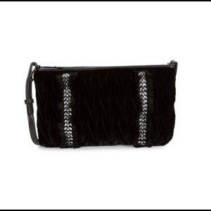 Sam Edelman velvet and rhinestone handbag/clutch
